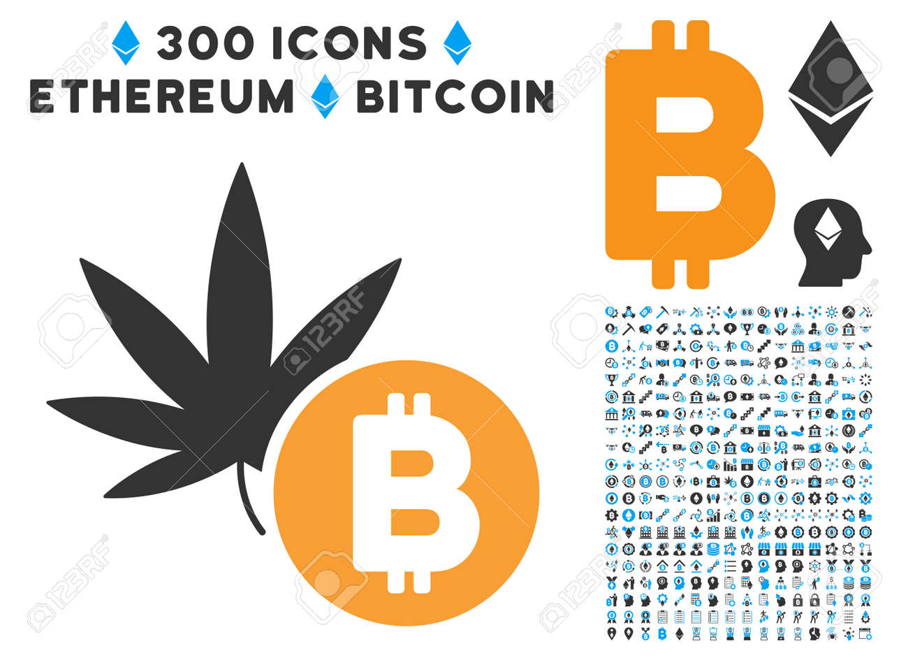 Cannabis coin stock photos royalty free business images cannabis bitcoin icon with 300 blockchain cryptocurrency ethereum smart contract pictograms vector biocorpaavc Images
