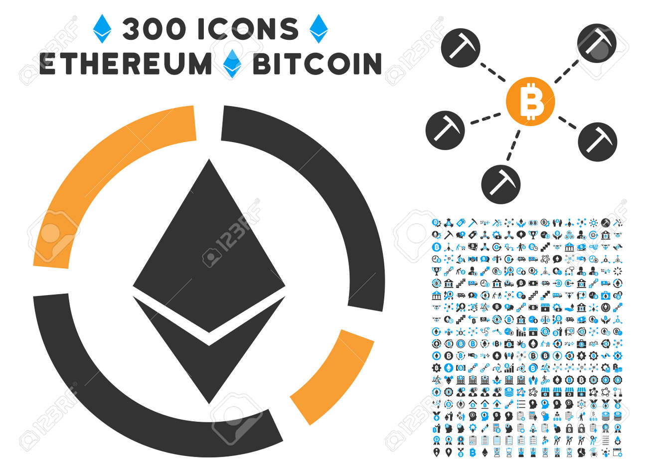 Ethereum Circle Diagram Icon With 300 Blockchain Cryptocurrency Smart Contract Graphic Icons