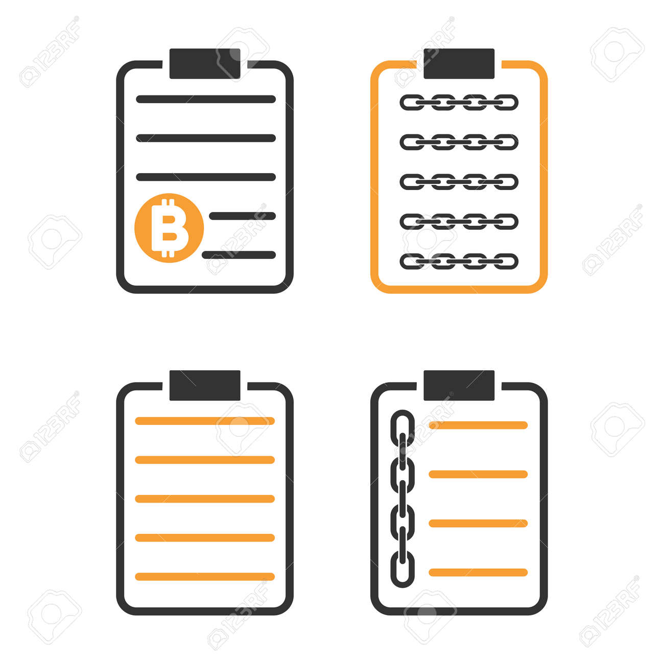 blockchain smart contract vector icon set style is bicolor flat