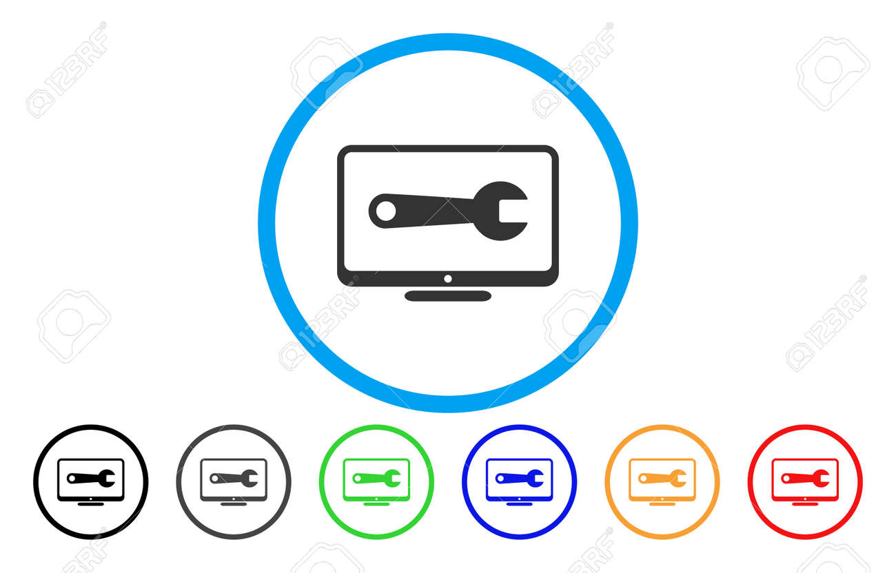 Desktop Configuration Wrench vector rounded icon. Image style is a flat gray icon symbol inside