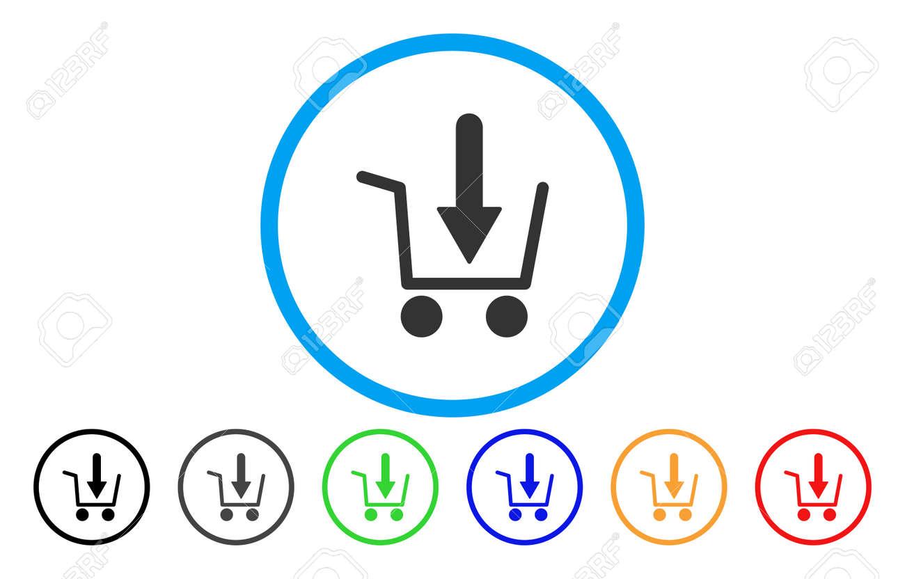 Archivio Fotografico - Icona arrotondata vettoriale Aggiungi al carrello.  Lo stile immagine è un simbolo icona piatto grigio all interno di un  cerchio blu. 3db400a4a96