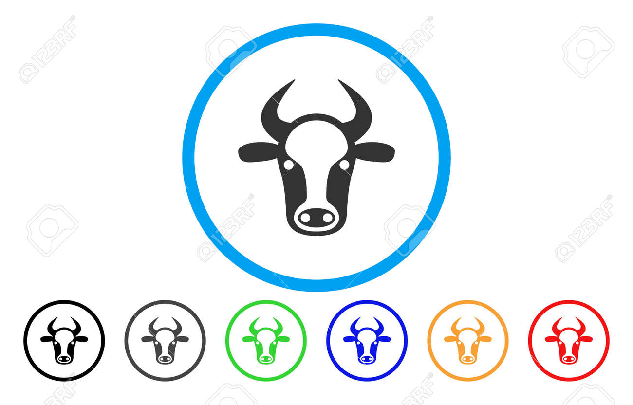 Cow Head Vector Rounded Icon Image Style Is A Flat Gray Icon