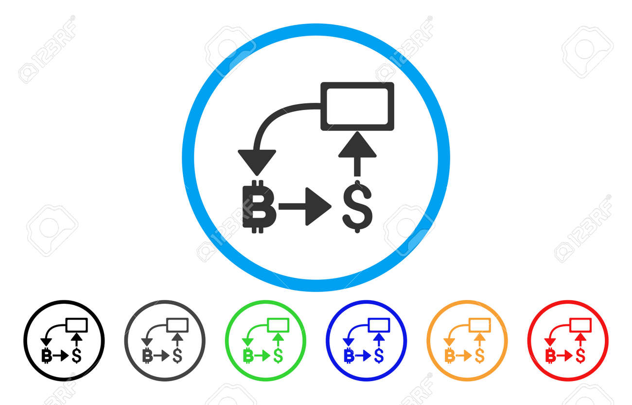 bitcoin dollar flow chart flat vector pictograph for application