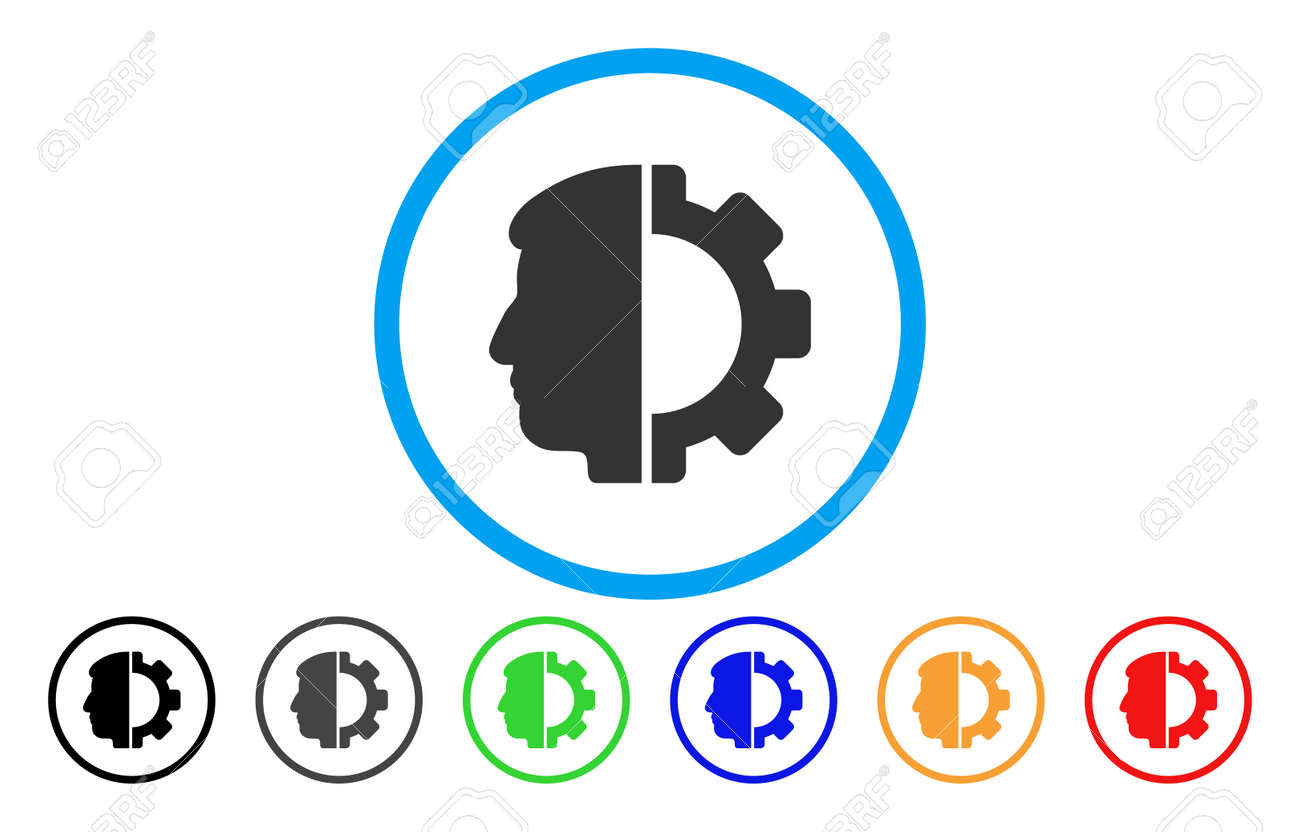 Android Head Vector Rounded Icon Image Style Is A Flat Gray