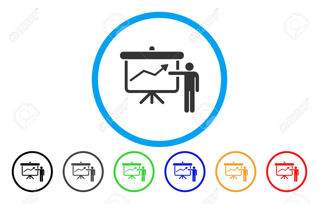 Project Presentation Vector Rounded Icon. Image Style Is A Flat ...