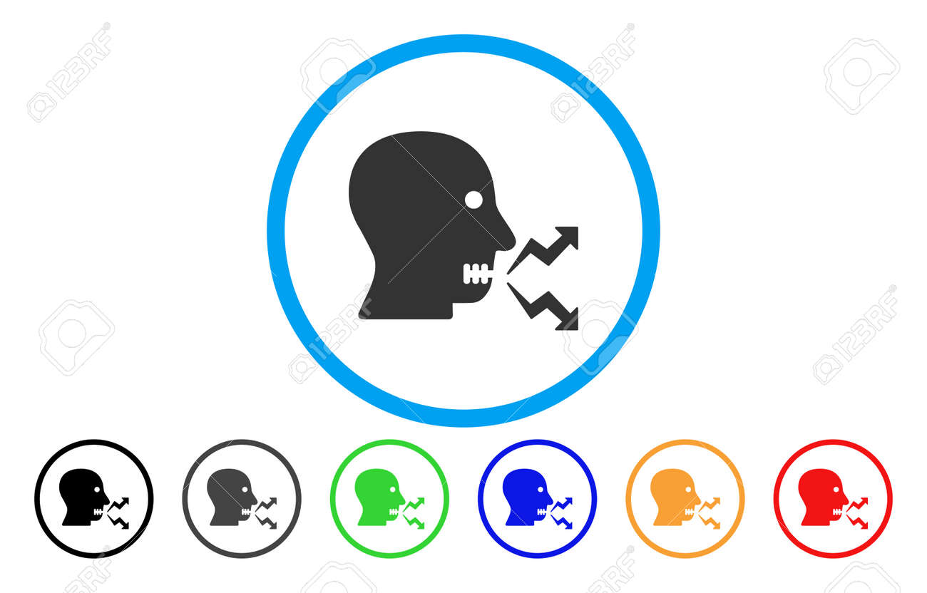 Angry Person Shout vector rounded icon  Image style is a flat