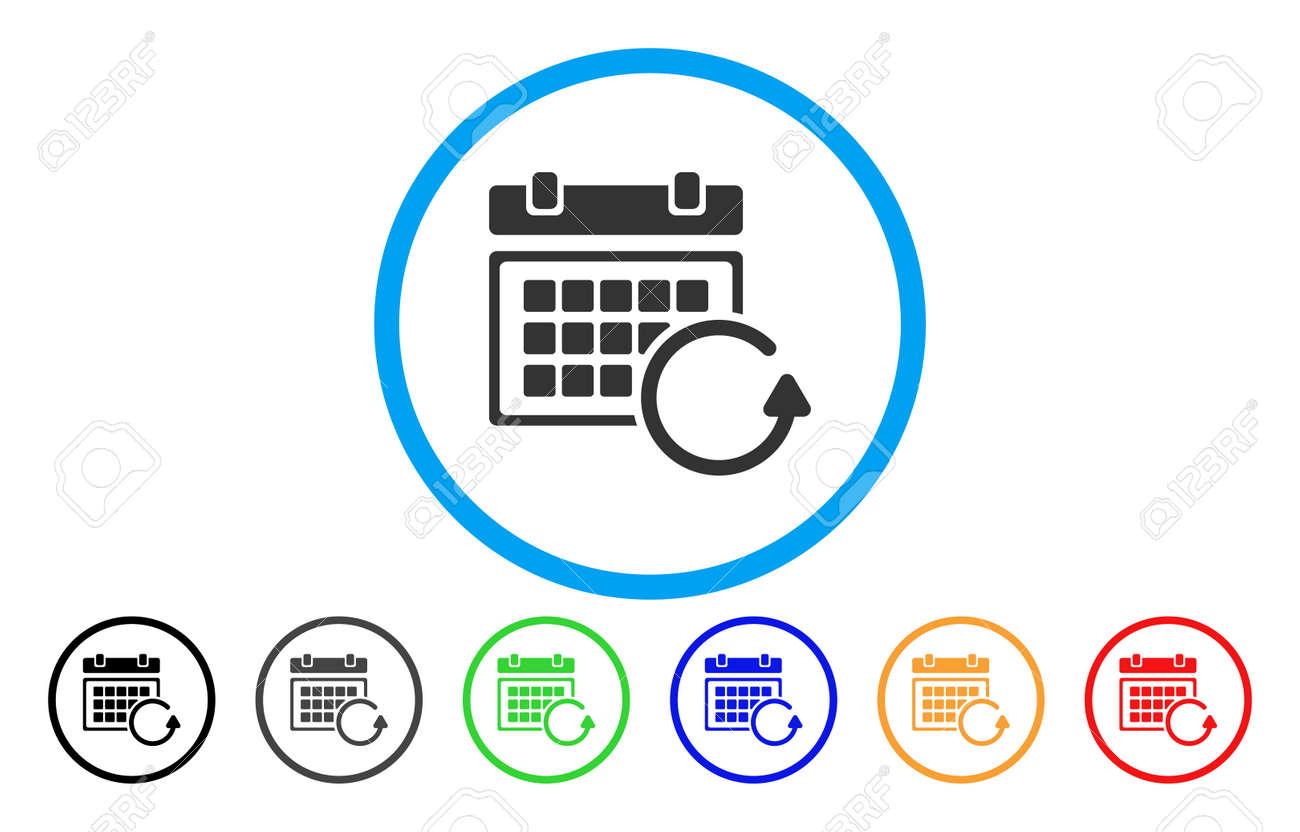 Actualizar Calendario.Actualizar Calendario Vector Icono Redondeado El Estilo De La Imagen Es Un Simbolo De Icono Gris Plano Dentro De Un Circulo Azul Las Variantes De
