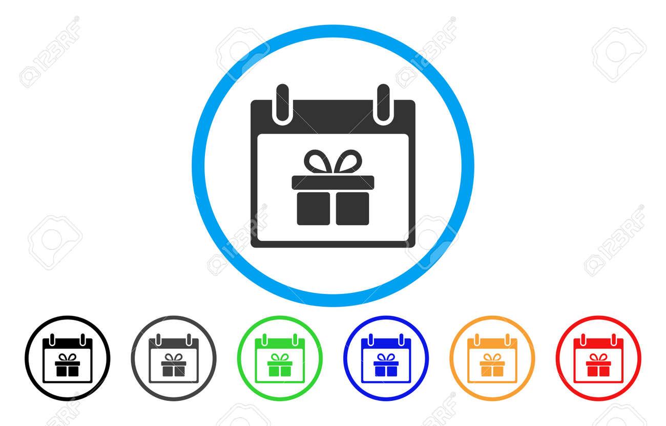 Calendario Giorno.Icona Arrotondata Di Vettore Del Giorno Del Calendario Del Contenitore Di Regalo Lo Stile Immagine E Un Simbolo Icona Piatto Grigio All Interno Di