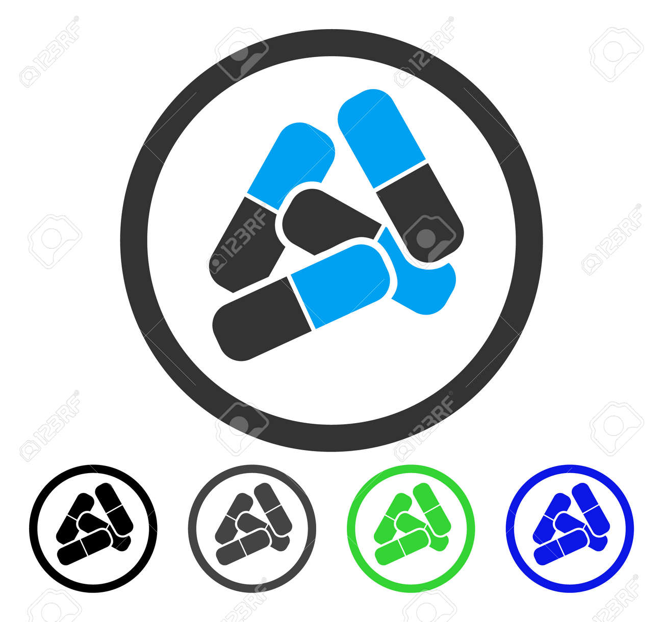 Drugs Pills vector pictograph. Style is a flat graphic symbol in black, grey, blue, green color variants. Designed for web and mobile apps. - 85004703