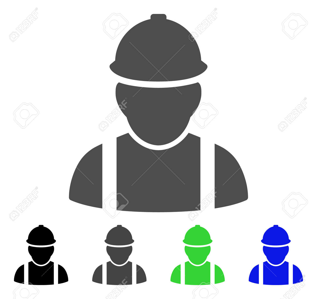 builder vector icon style is a flat graphic symbol in black