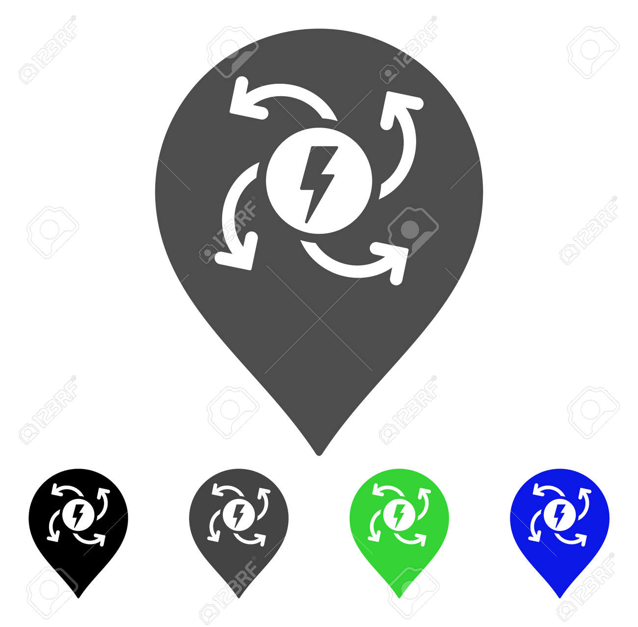Electric Motor Marker Vector Pictogram. Style Is A Flat Graphic ...