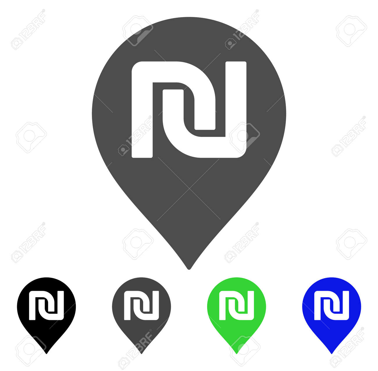 Shekel Map Marker Vector Pictograph Style Is A Flat Graphic
