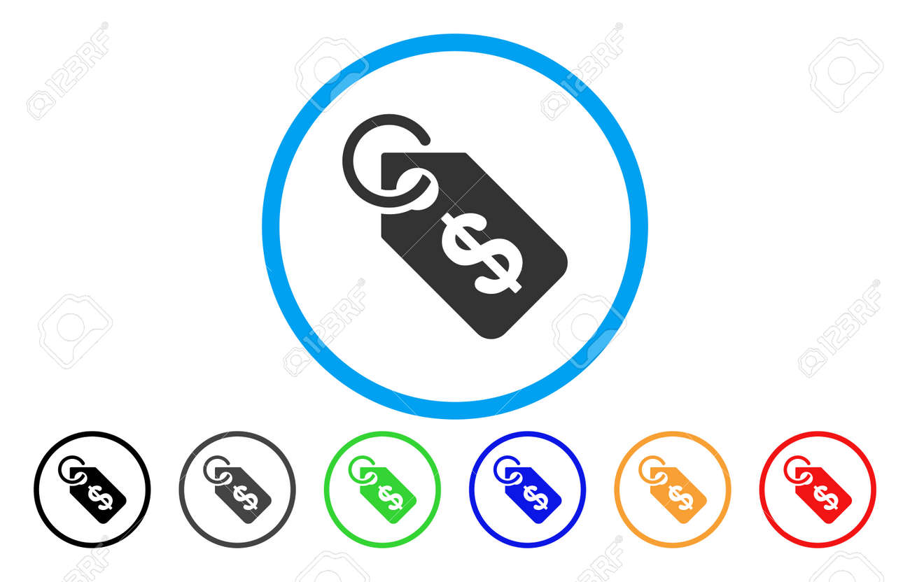 Price Tag Rounded Icon Vector Illustration Style Is A Grey Flat