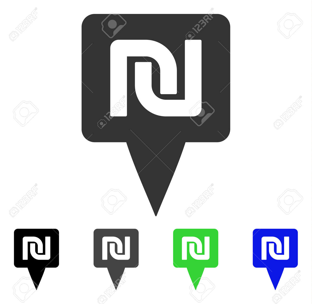 Shekel Map Pointer Icon Vector Illustration Style Is A Flat