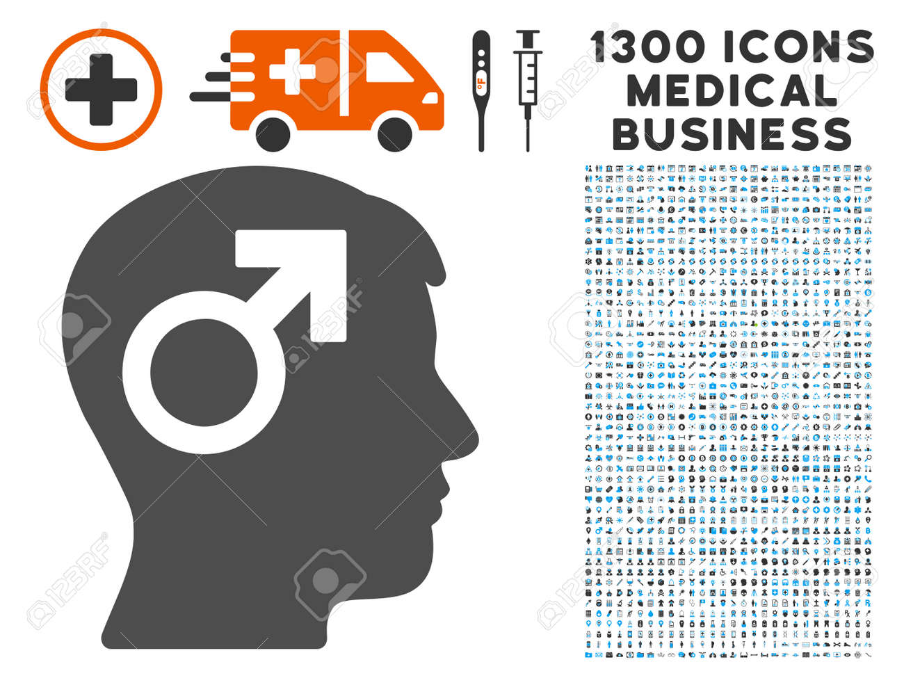 Male symbol head gray vector icon with 1300 medicine commerce male symbol head gray vector icon with 1300 medicine commerce symbols set style is flat buycottarizona Images