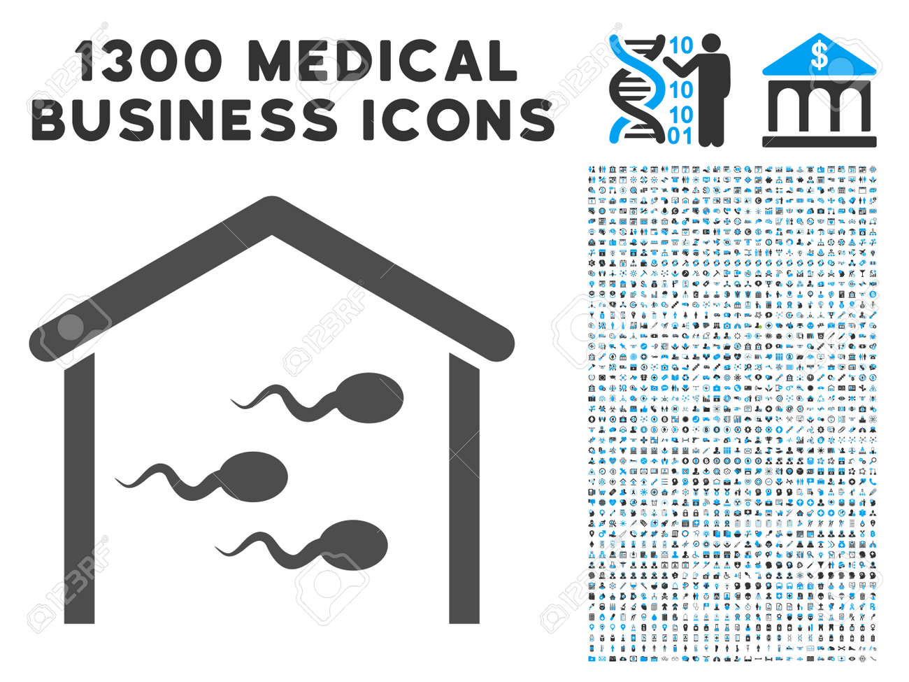 Sperm Bank gray vector icon with 1300 health care business symbols.  Collection style is flat