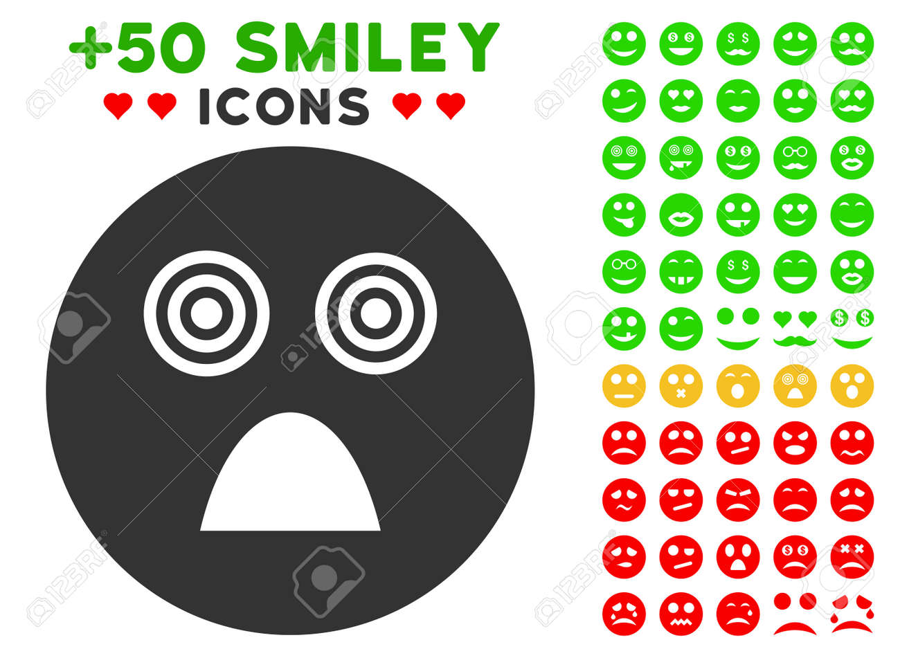Crazy Smiley Icon With Colored Bonus Avatar Symbols Royalty Free