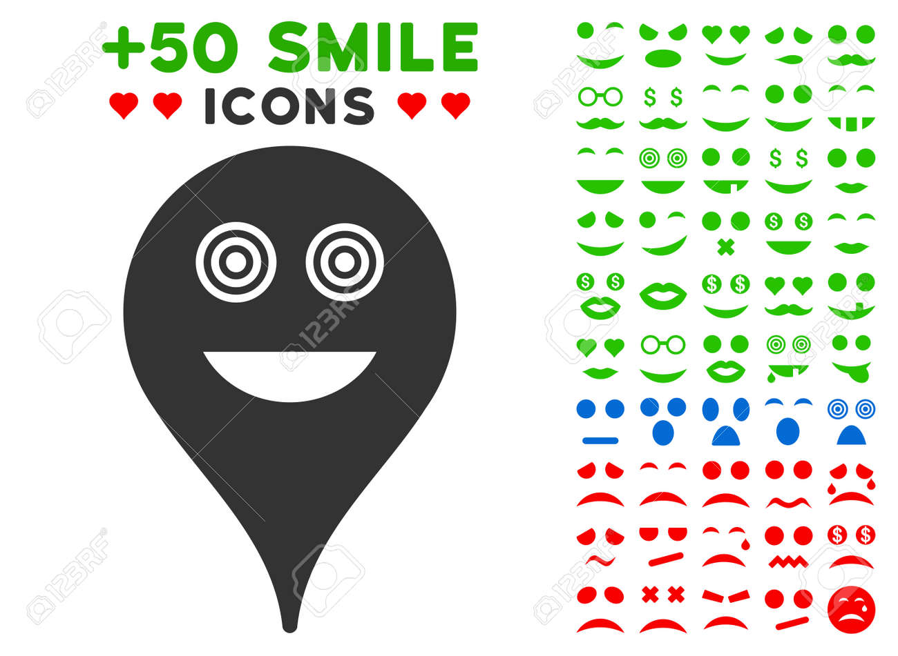 Crazy Smiley Map Marker Pictograph With Bonus Mood Symbols Vector