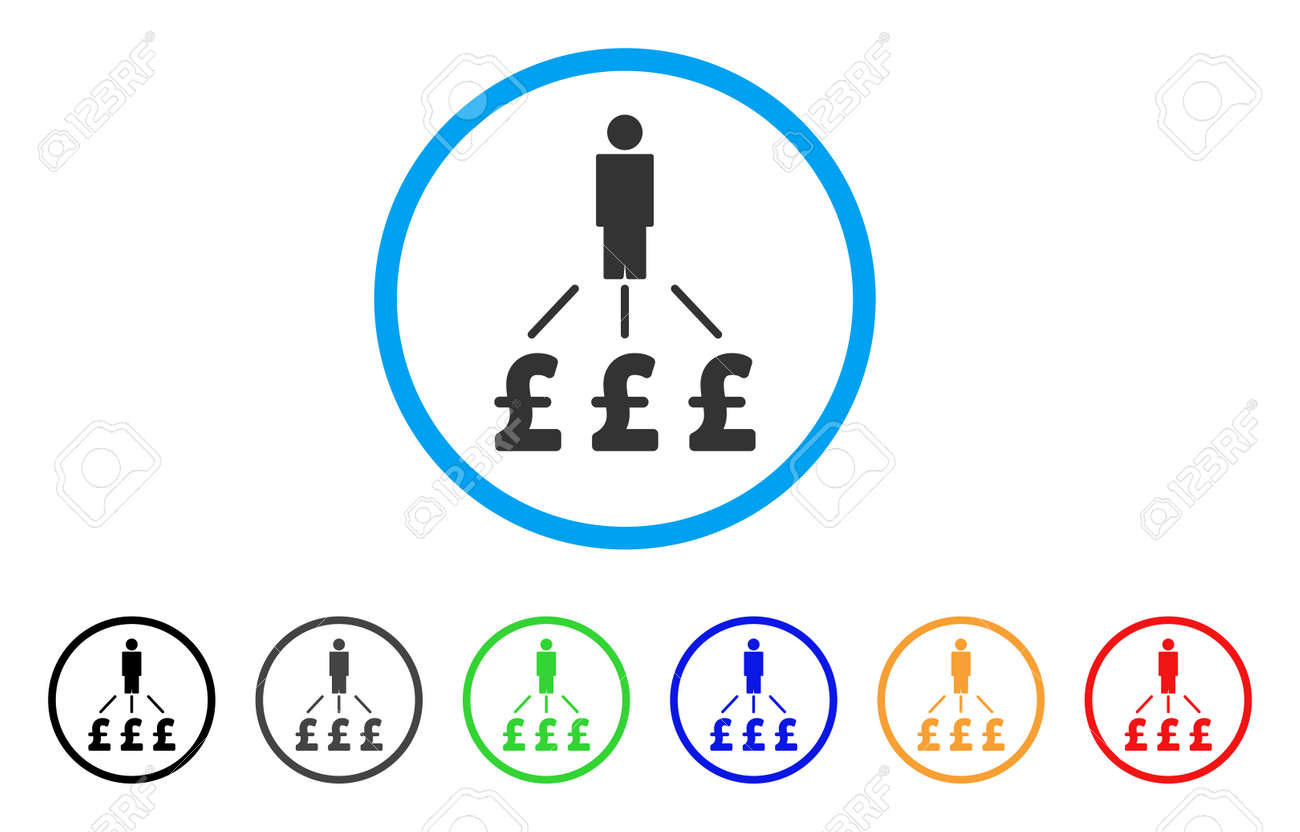 person pound expenses rounded icon style is a flat person pound expenses grey symbol inside