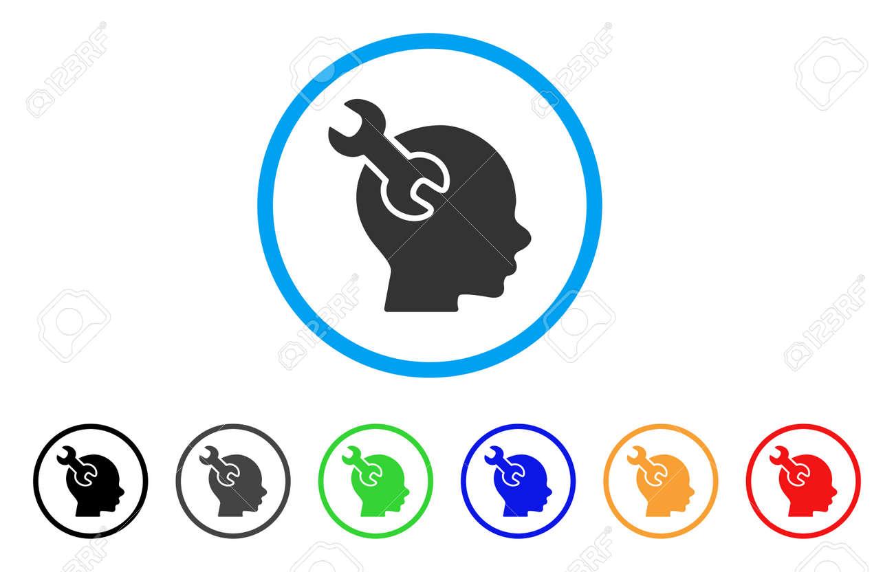 Cerebro Llave De Servicio Icono Redondeado. El Estilo Es Un Símbolo ...