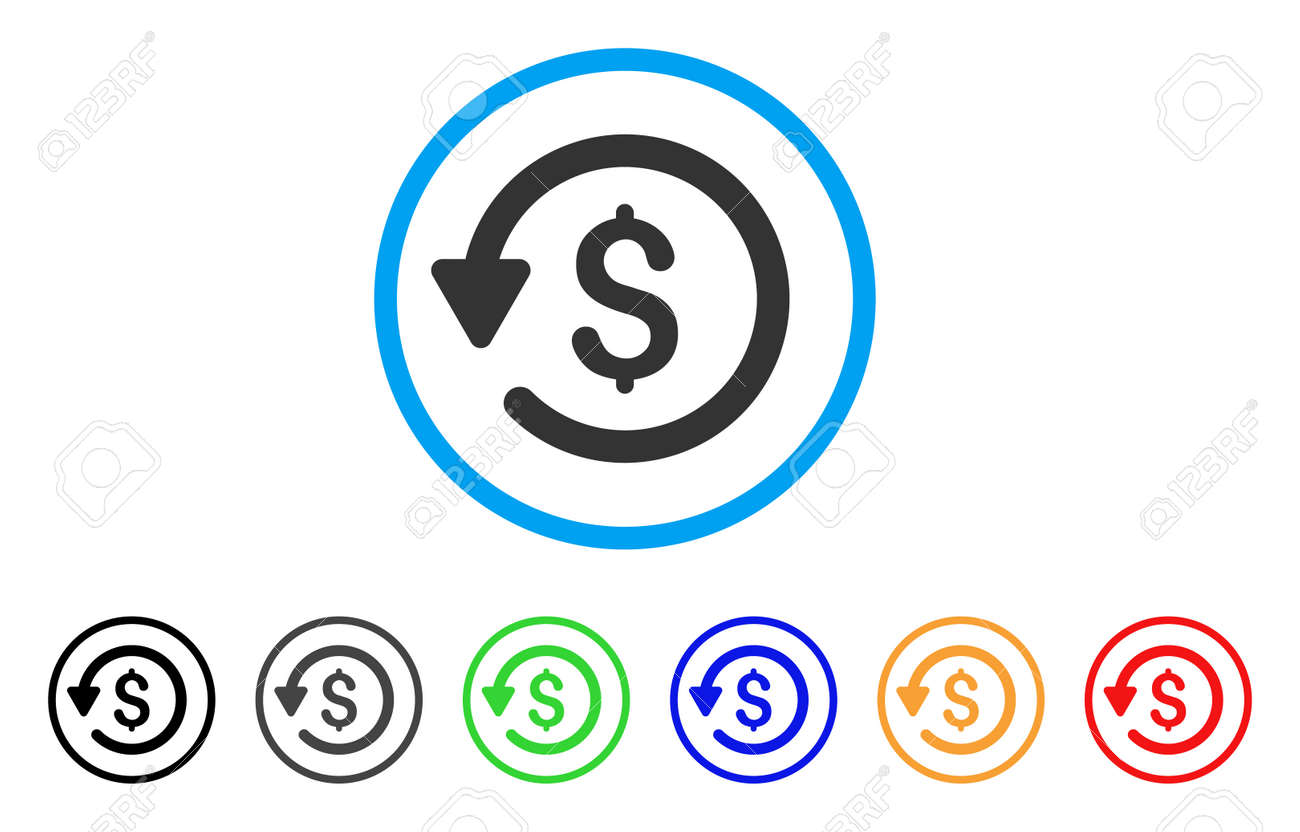 Rebate rounded icon. Style is a flat rebate gray symbol inside light blue  circle with