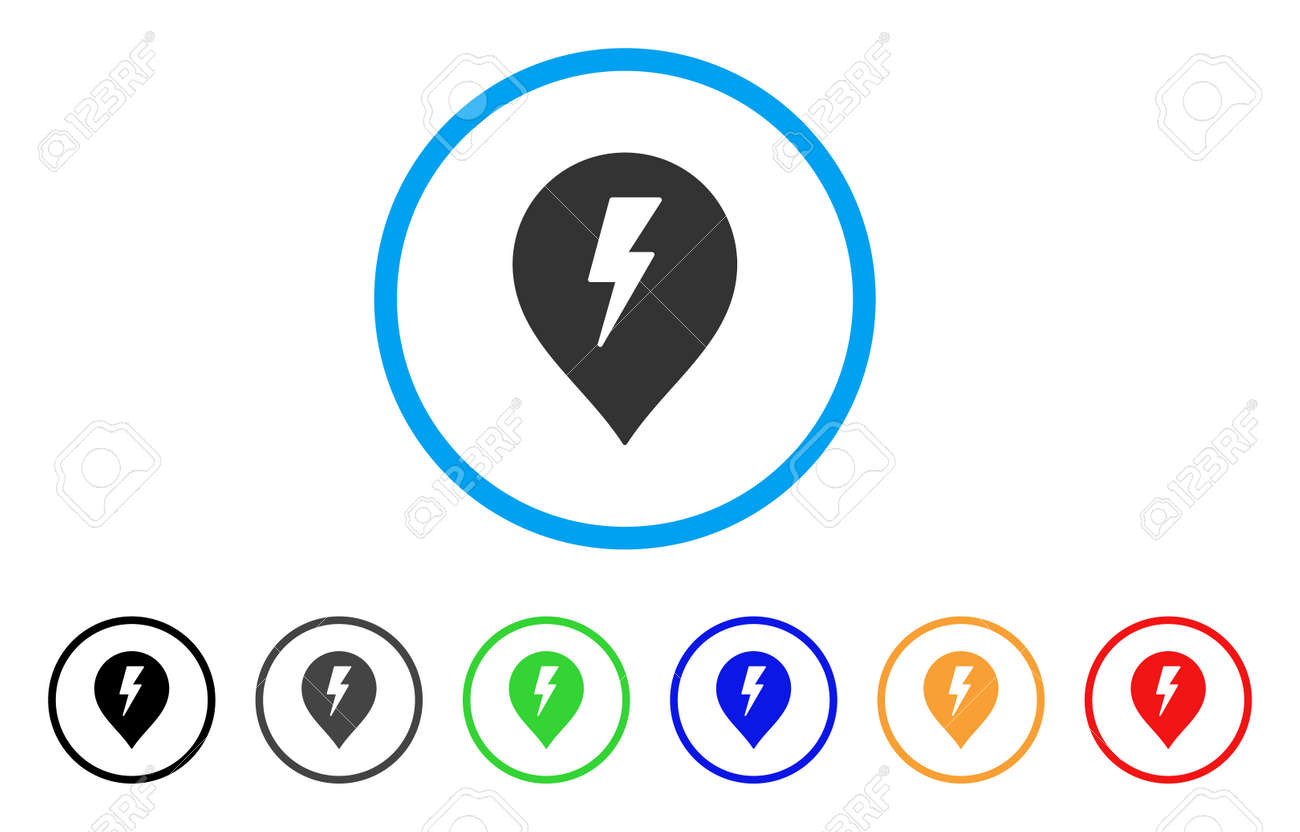 Electric Shock Marker Rounded Icon. Style Is A Flat Electric ...
