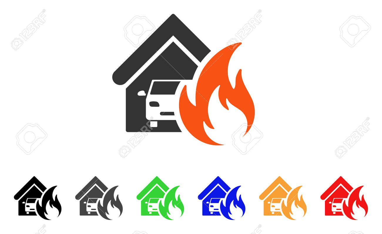 garage fire disaster icon vector illustration style is a flat rh 123rf com