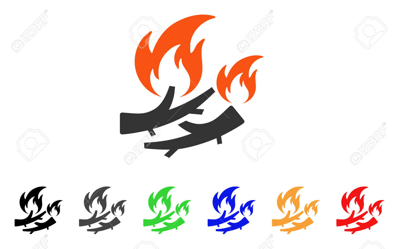 firewood fire icon vector illustration style is a flat iconic rh 123rf com