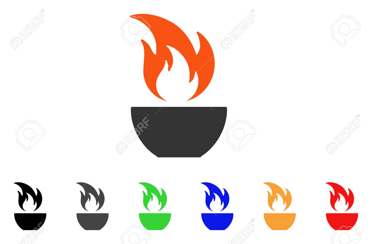 fire bowl icon vector illustration style is a flat iconic fire rh 123rf com