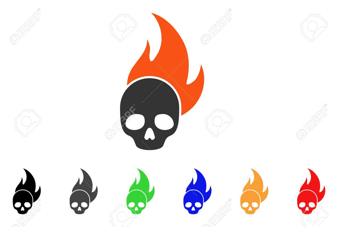 skull fire icon vector illustration style is a flat iconic skull rh 123rf com