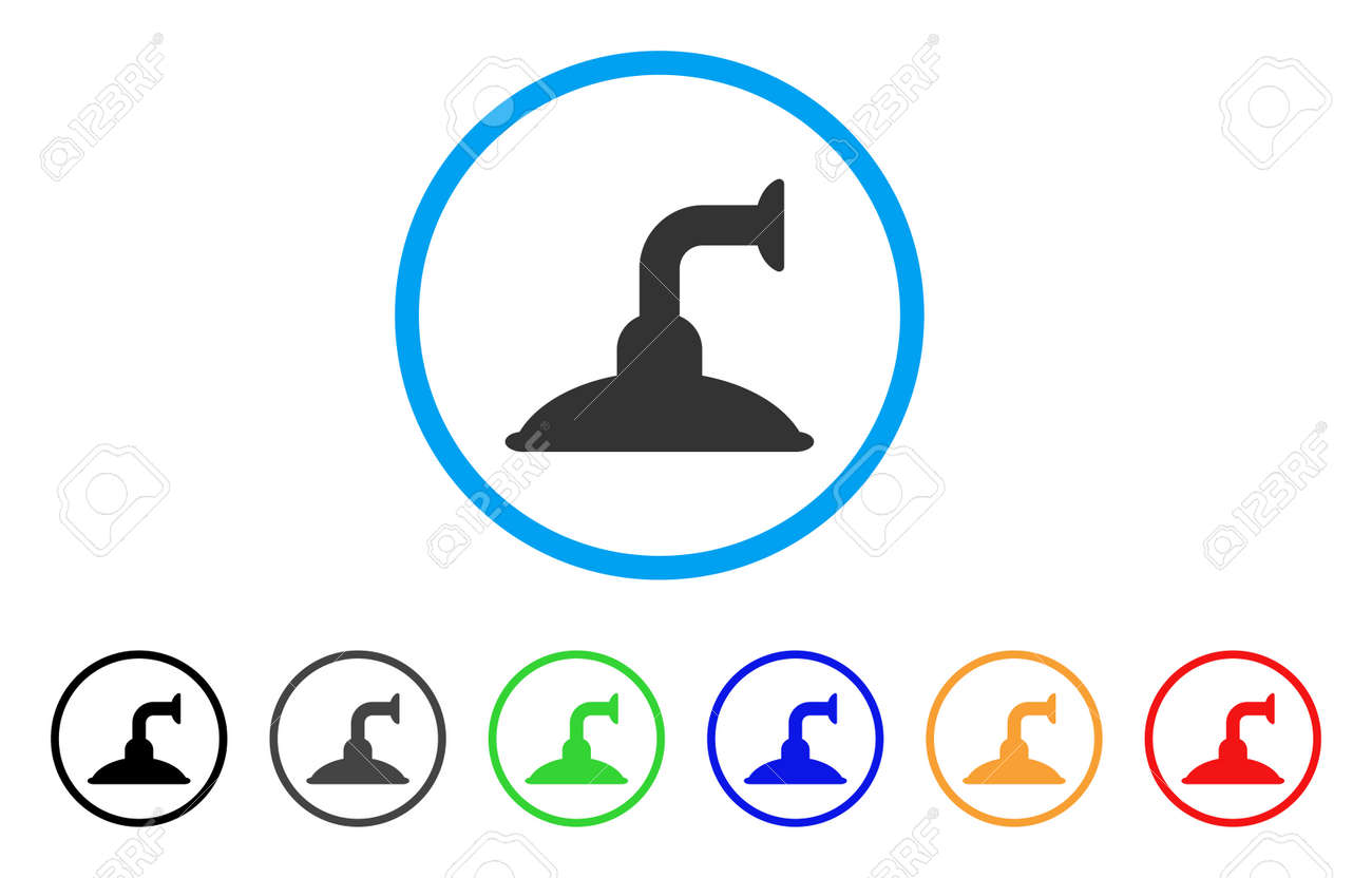 Shower Head Rounded Icon Style Is A Flat Shower Head Gray Symbol