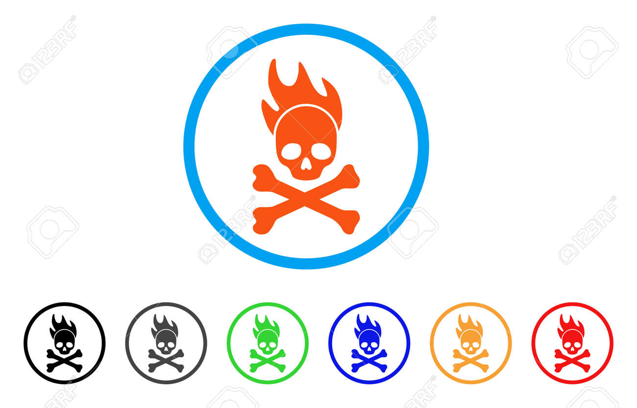 death fire rounded icon style is a flat death fire orange symbol rh 123rf com