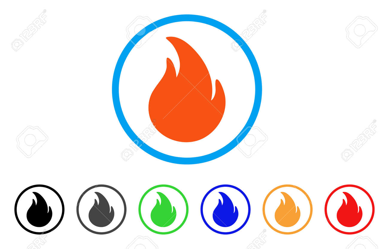 fire rounded icon style is a flat fire orange symbol inside rh 123rf com