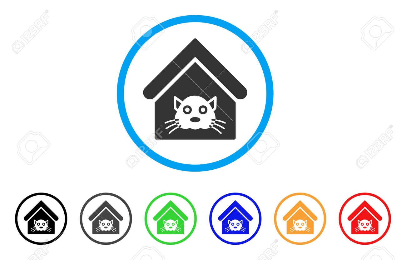Vettoriale Icona Arrotondata Di Cat House Lo Stile è Un Simbolo