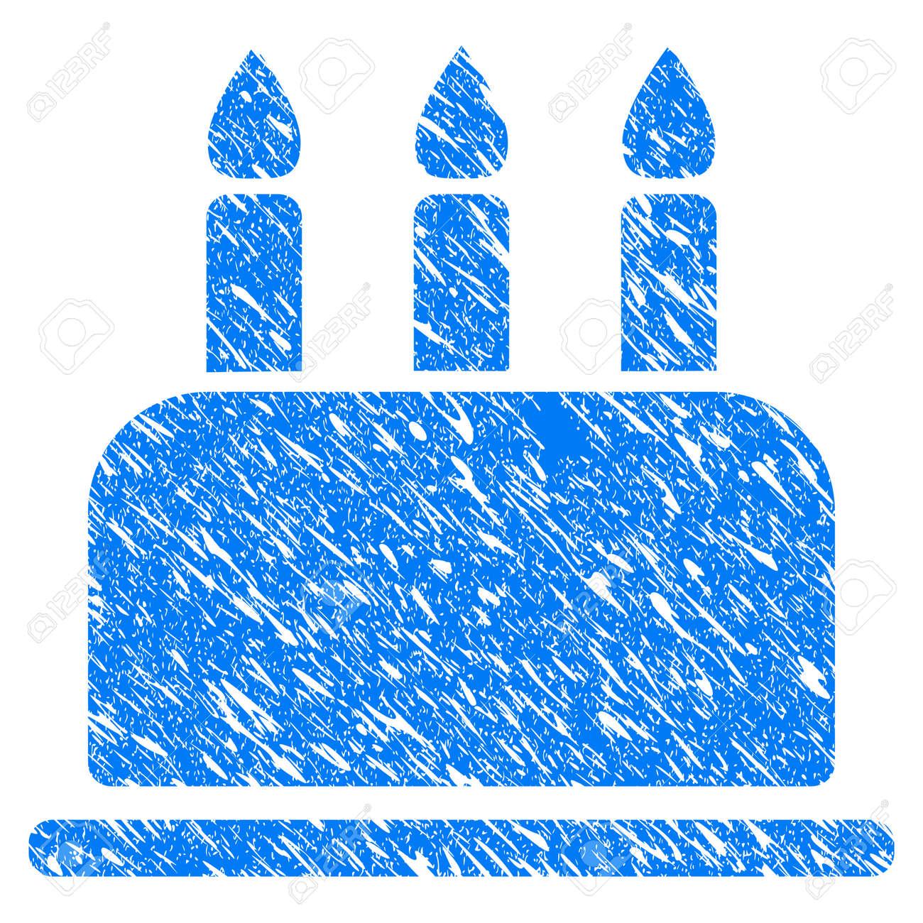 Grunge Birthday Cake Icon With Grunge Design And Dust Texture