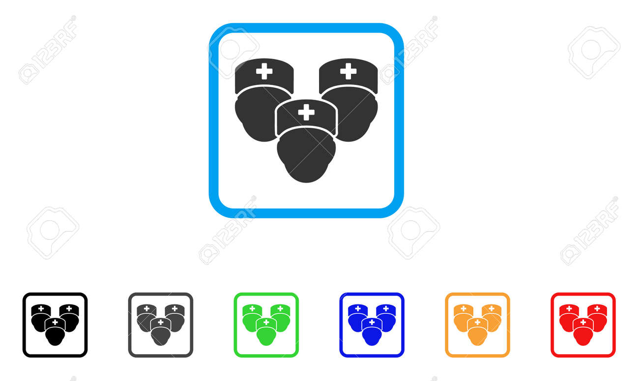 Medical Staff Icon Flat Pictogram Symbol In A Rounded Rectangular