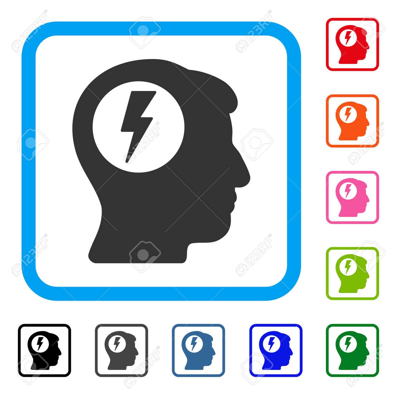 Brain electric shock icon flat gray iconic symbol inside a light brain electric shock icon flat gray iconic symbol inside a light blue rounded rectangular frame buycottarizona Images
