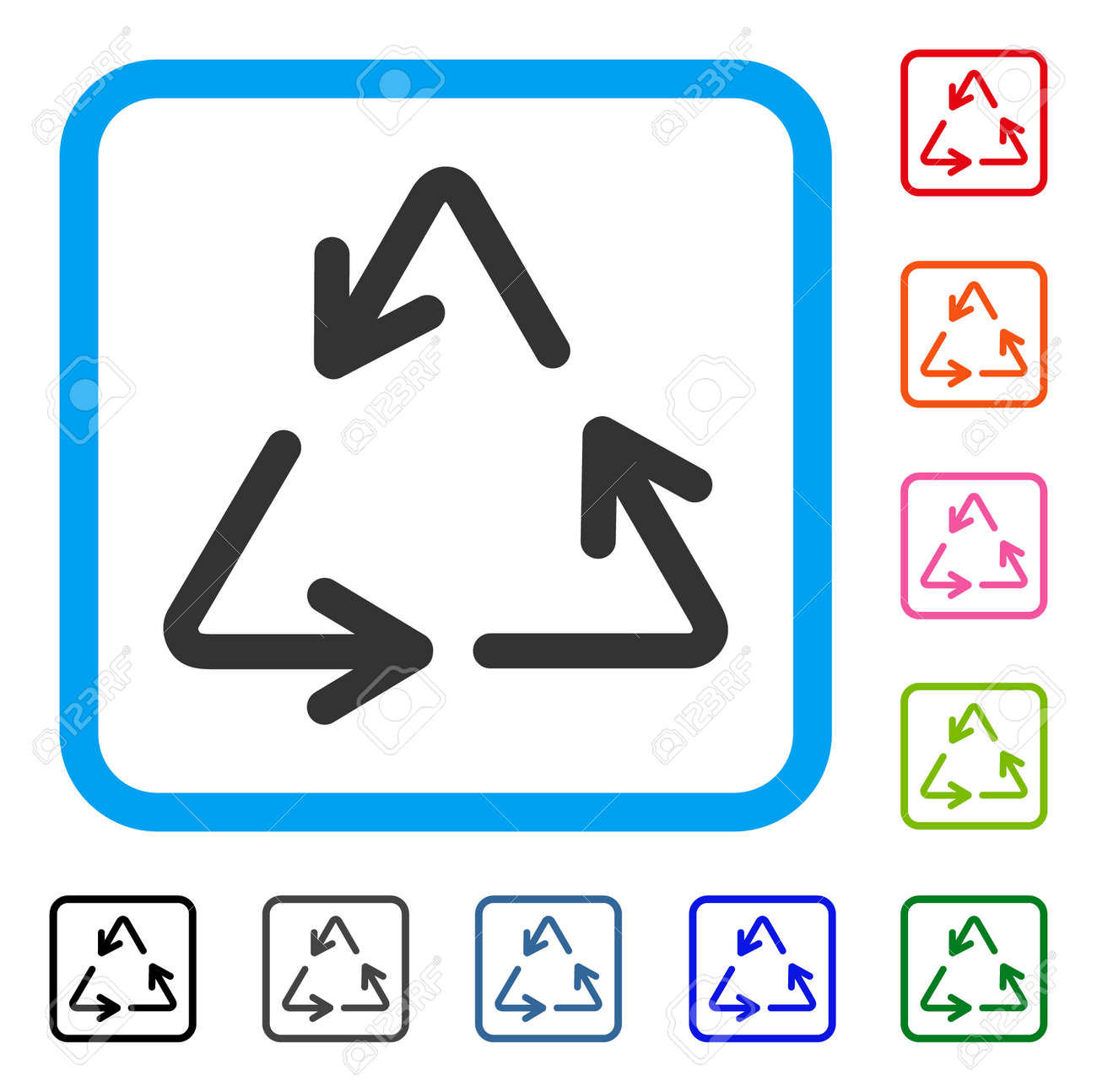 Recycle Arrows Icon Flat Gray Pictogram Symbol Inside A Light