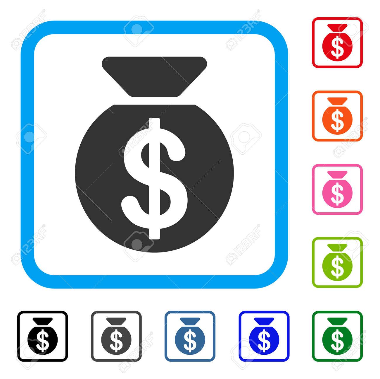 Icône de sac d'argent. Symbole de pictogramme gris plat dans un cadre carré arrondi bleu clair. Noir, gris, vert, bleu, rouge, orange des versions
