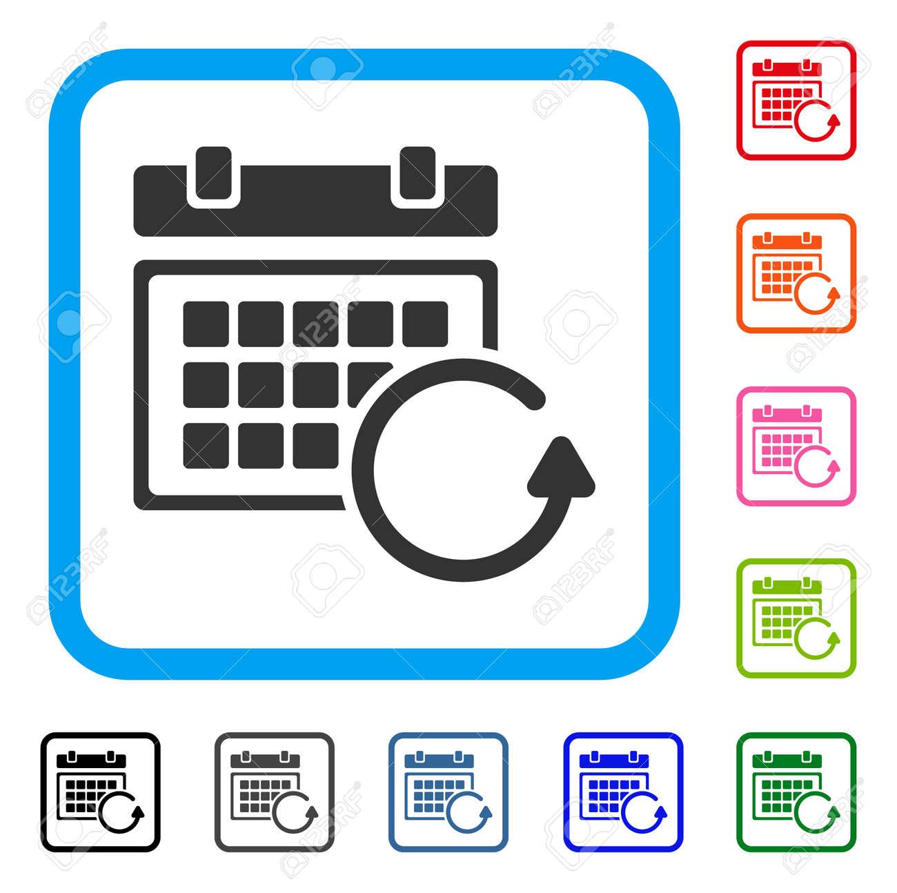 Actualizar Calendario.Actualizar El Icono Del Calendario Simbolo Iconico Gris Plano Dentro De Un Rectangulo Redondeado Azul Claro Variantes De Color Negro Gris Verde