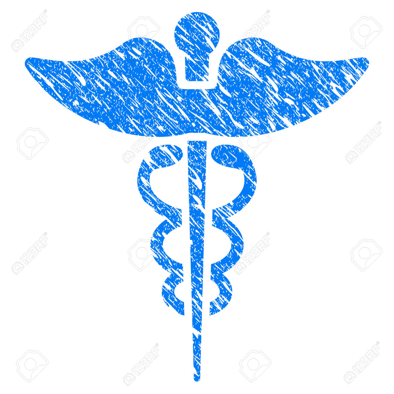 Grunge Medicine Caduceus Symbol Icon With Scratched Design And