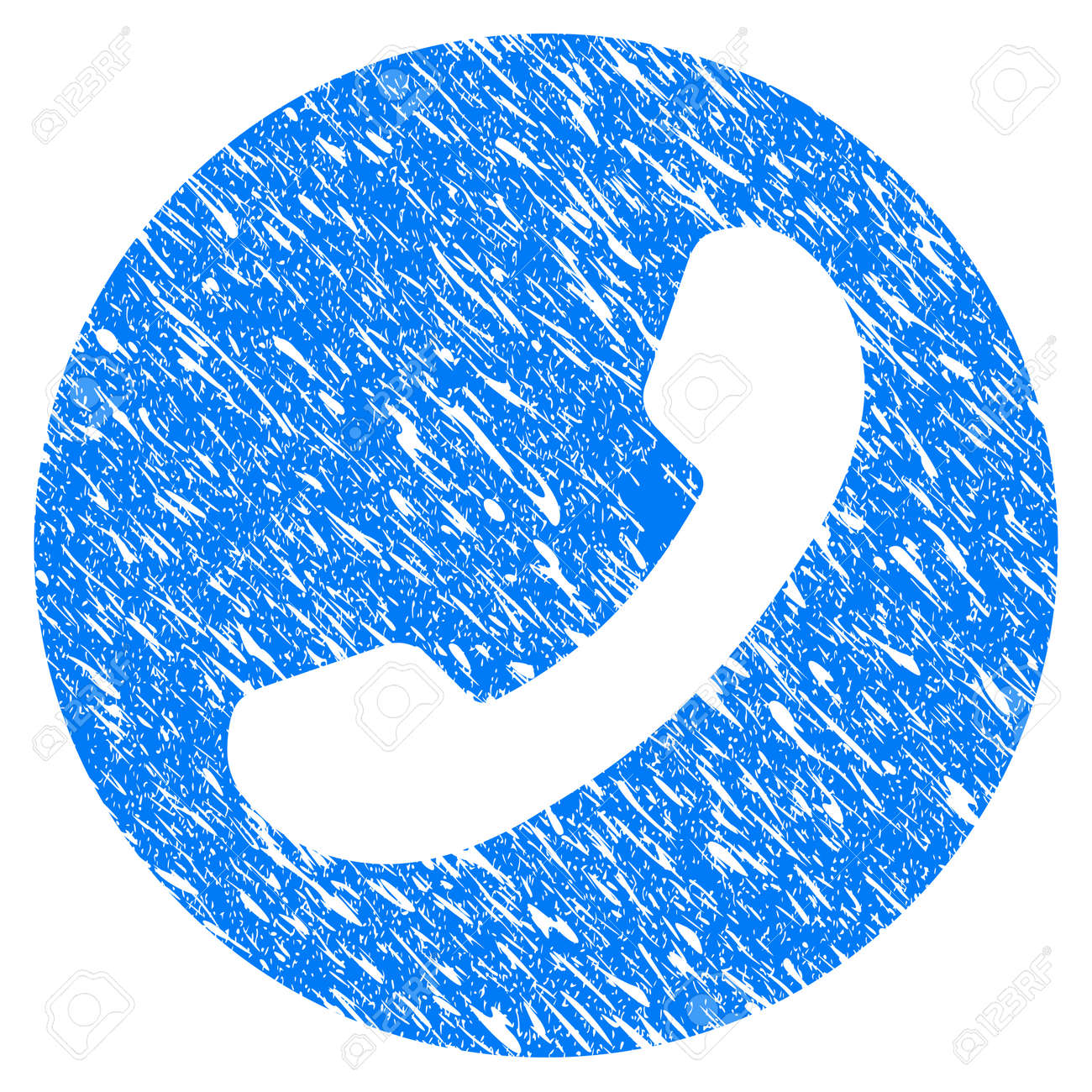Grunge Phone Number Icon With Scratched Design And Grungy Texture