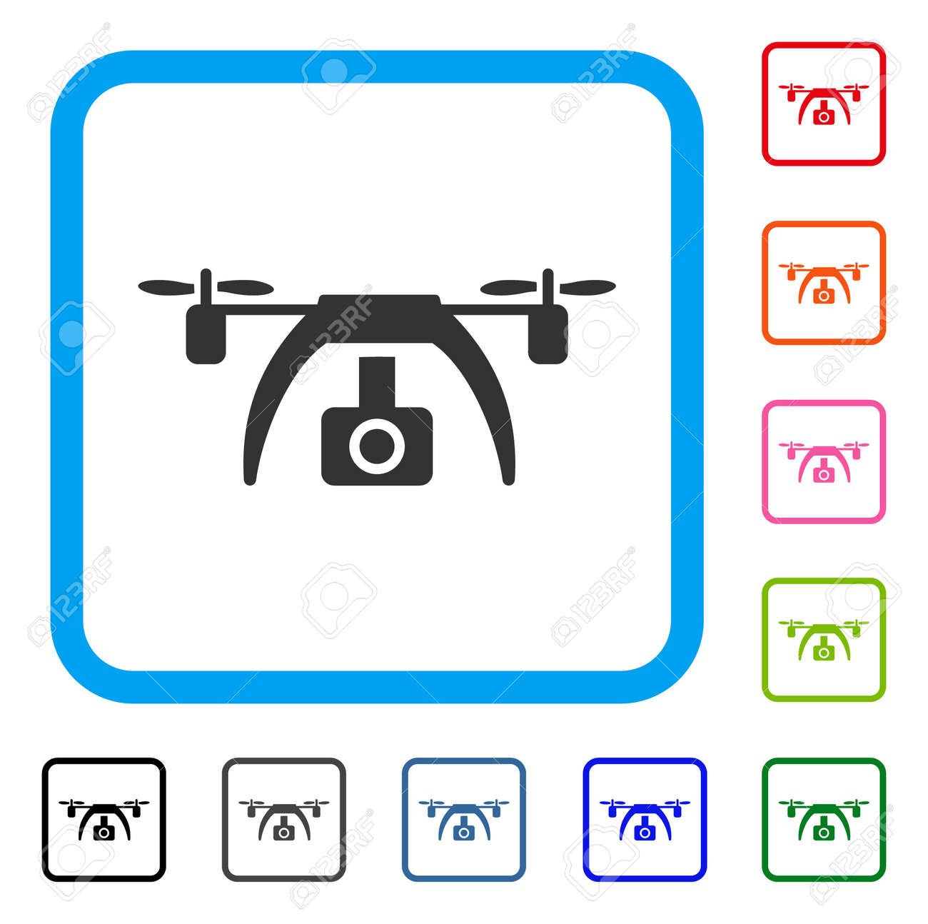 Drone Video Camera Icon Flat Gray Pictogram Symbol Inside A Light Blue Rounded Rectangle