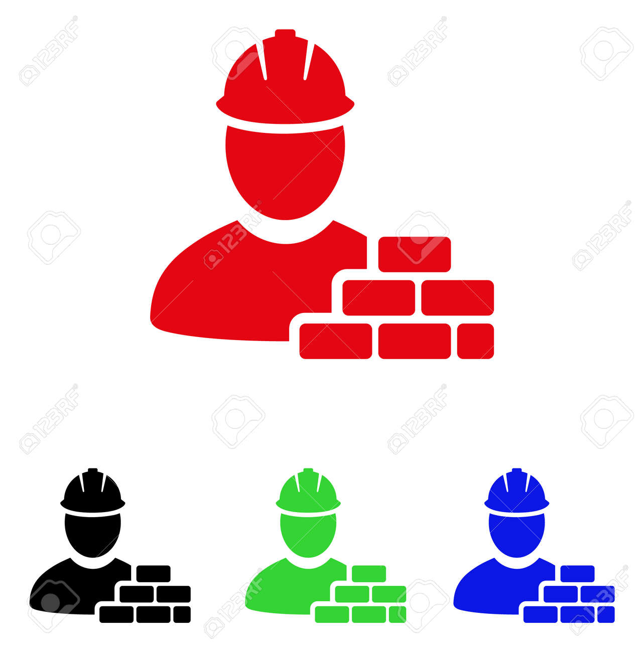 Brick builder icon. Vector illustration style is a flat iconic brick builder symbol with black, red, green and blue color variants. - 88310869
