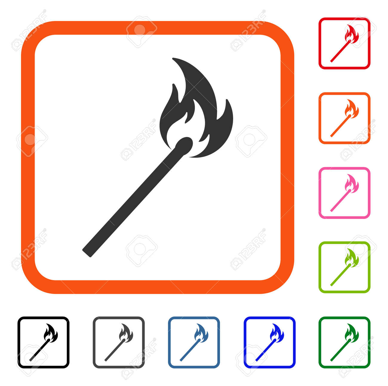 Match Fire Icon Flat Grey Iconic Symbol In An Orange Rounded