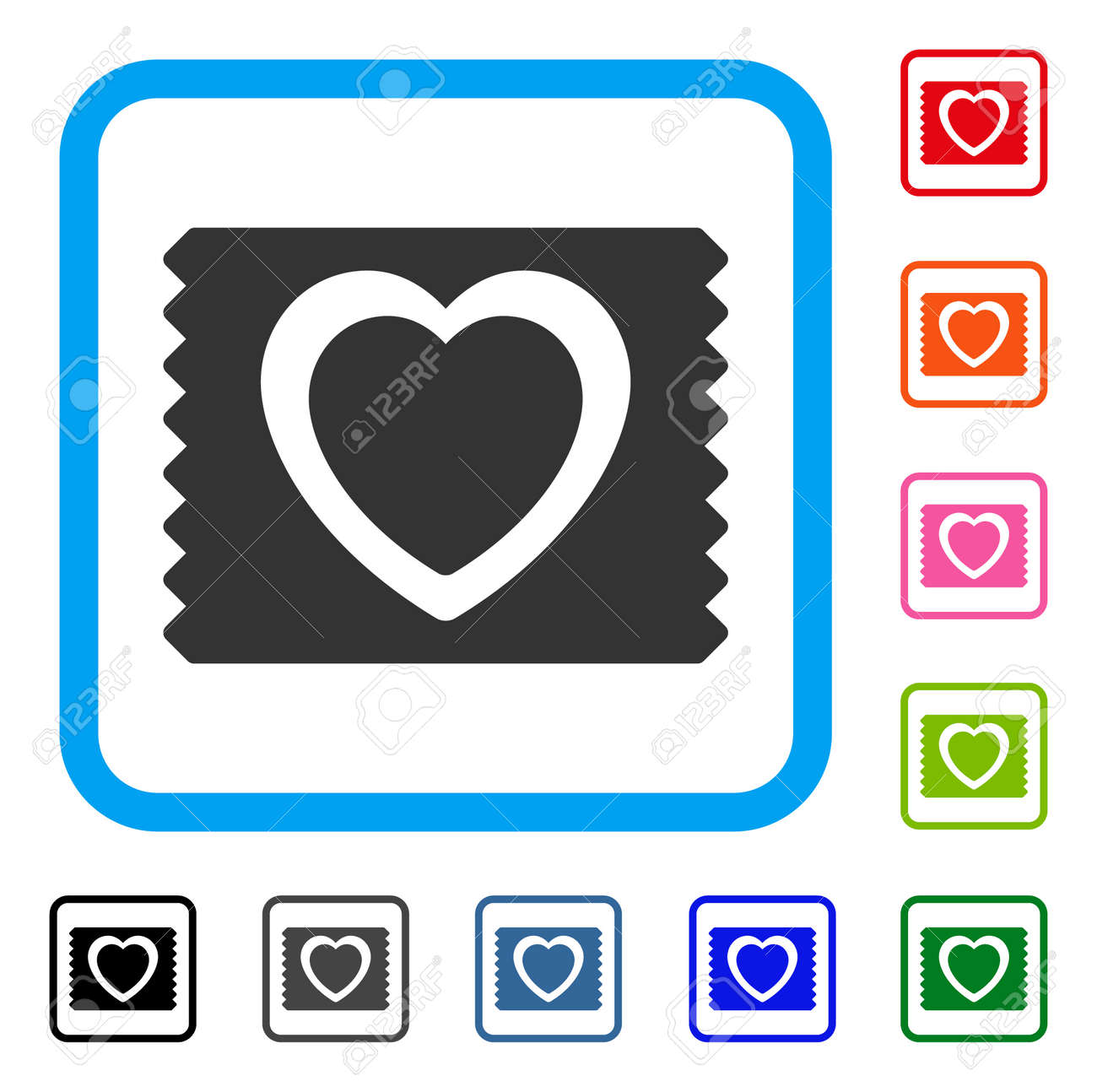 Heart Condom Pack Icon Flat Grey Pictogram Symbol In A Light