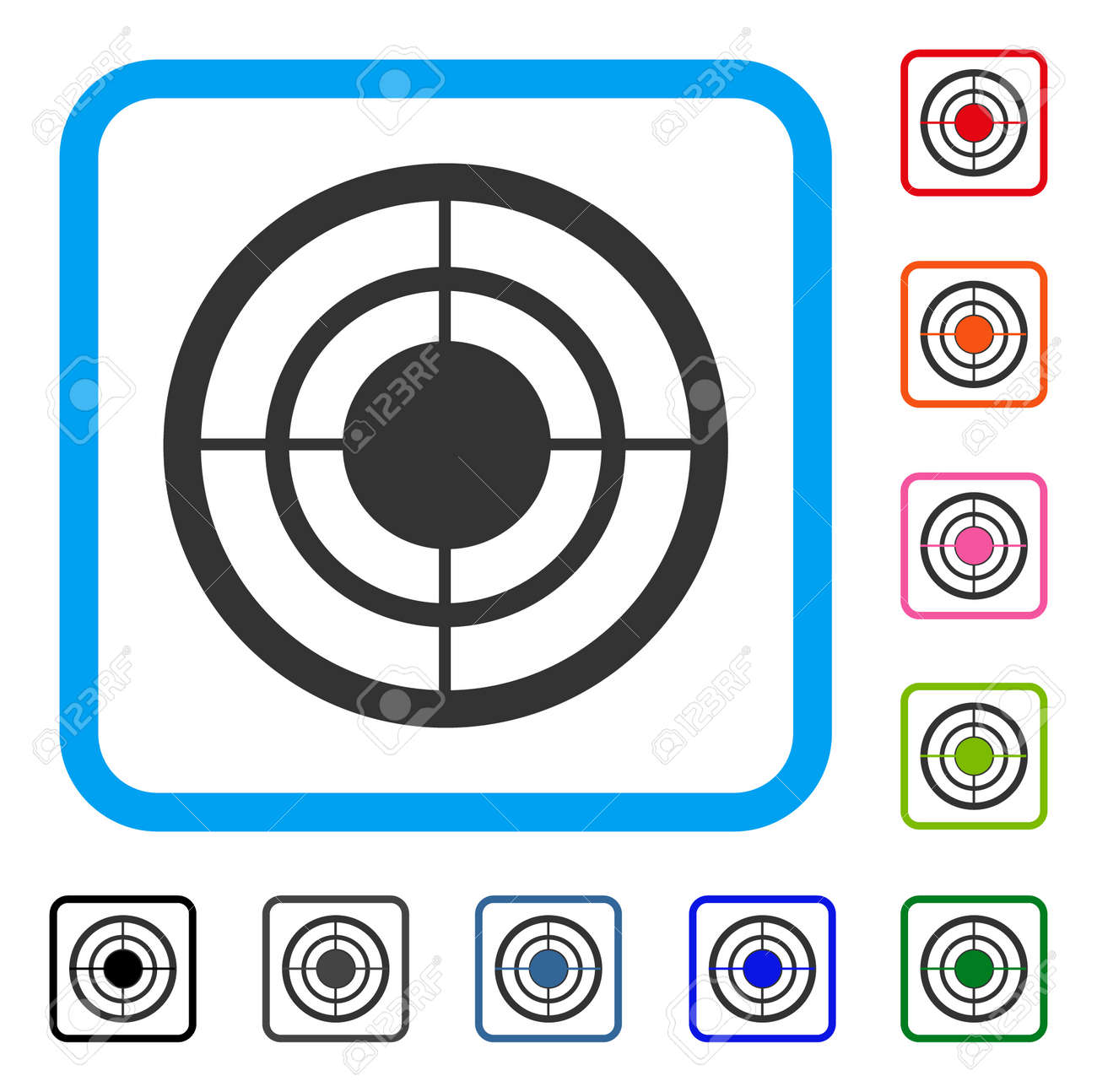 72c8bf11b370 Target icon. Flat gray iconic symbol in a light blue rounded squared frame.  Black