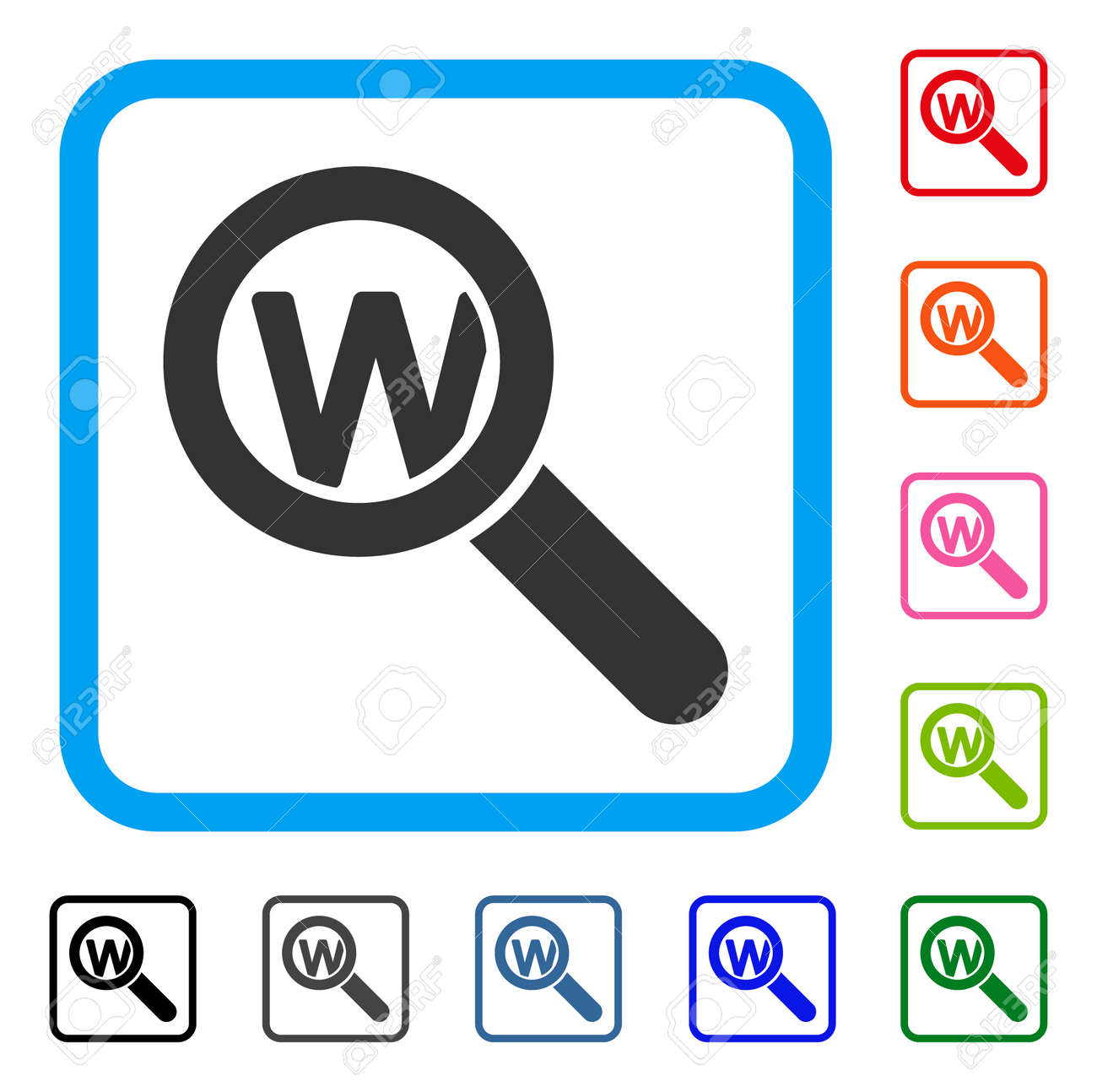Search Word Icon Symbol In A Rounded Square Designed For Web