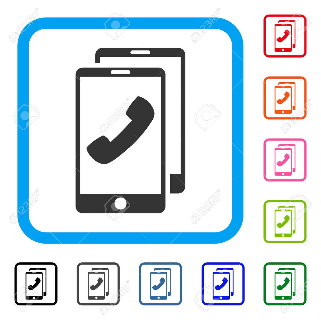 Cell Phones Icon Flat Grey Iconic Symbol Inside A Blue Rounded