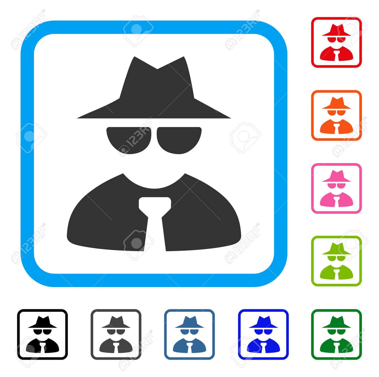 Mafia Boss icon  Flat gray pictogram symbol inside a blue rounded